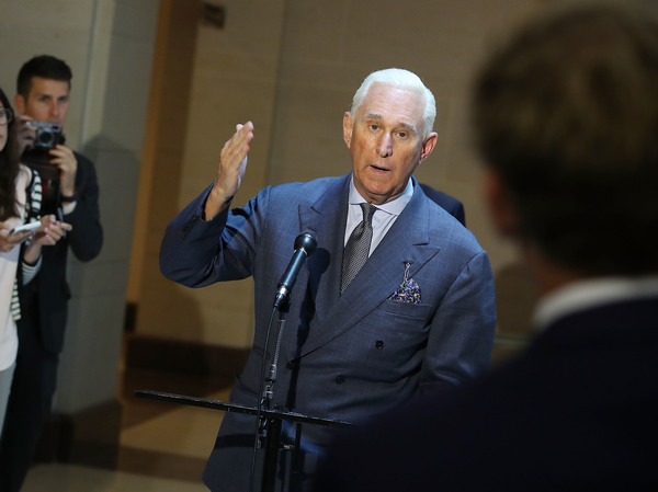 Roger Stone speaks to the media after appearing before the House Intelligence Committee on Sept. 26, 2017.