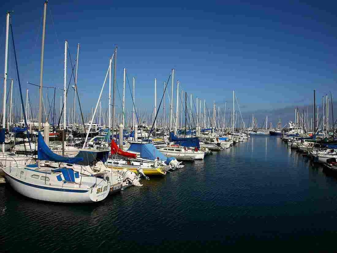 Boats sit at the dock at Santa Barbara Harbor.