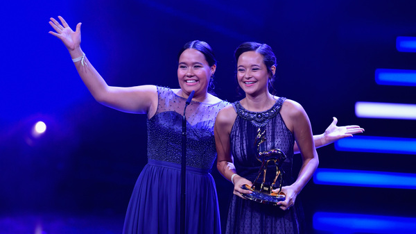 "Teenage sisters Melati and Isabel Wijsen of Bali have received many honors for their efforts to ban plastic bags. Above: They accept the 2017 ""Award for Our Earth"" from Germany"