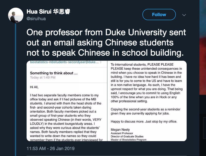 Duke Prof Is Sorry For Urging Chinese Students Not To Speak