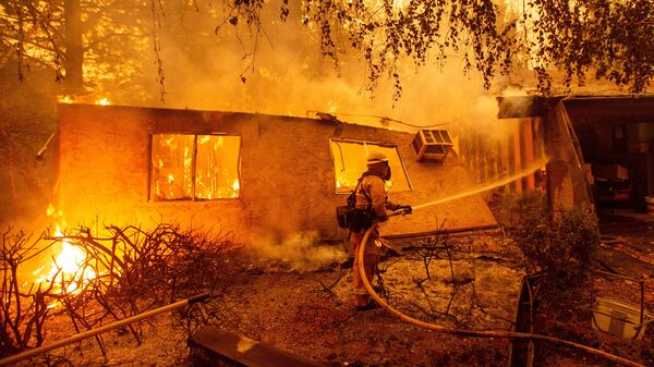 Firefighters battle flames at a burning apartment complex in Paradise, Calif., in November. State fire officials say power lines coming into contact with trees have sparked multiple Northern California wildfires in recent years. PG&E filed for bankruptcy on Tuesday.