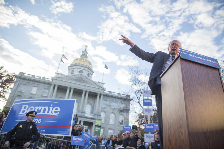 Sen. Bernie Sanders, I-Vt., leads a November 2015 rally in front of the New Hampshire State House in Concord. Sanders won that primary, but today some of his supporters in the early primary state are less enthusiastic about another presidential bid. (Scott Eisen/Getty Images)