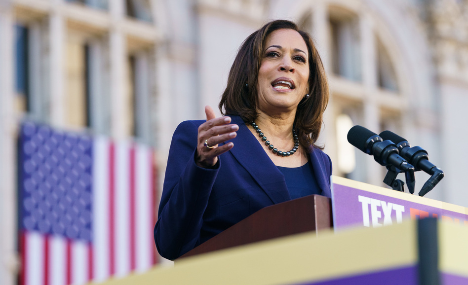 Sen. Kamala Harris, D-Calif., at an Oakland, Calif., campaign rally this week. Harris says she backs a single-payer health system, but she hasn't yet offered details on how she would finance that plan. (Mason Trinca/Getty Images)