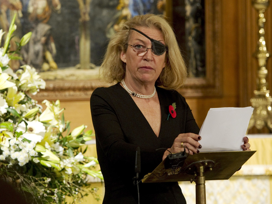 A U.S. court has ordered the Syrian government to pay $300 million for killing American journalist Marie Colvin in 2012. Colvin is seen here in London in 2010. (Arthur Edwards/ WPA Pool/Getty Images)