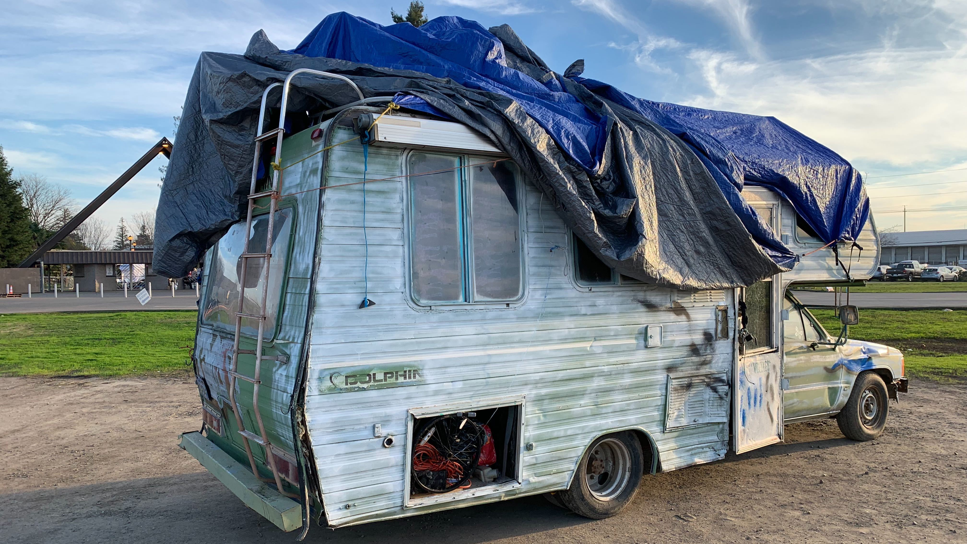 An abandoned RV at the last remaining Red Cross shelter providing housing for victims of the Camp Fire in California.