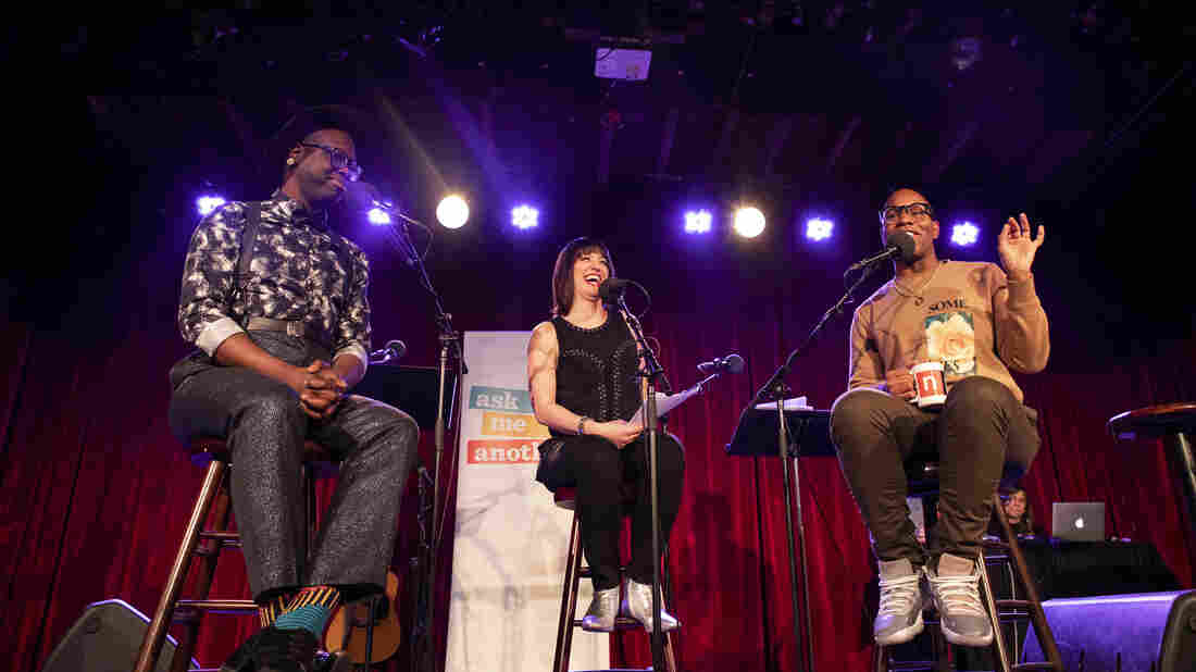Host Ophira Eisenberg interviews Bob the Drag Queen and Monét X Change on Ask Me Another at the Bell House in Brooklyn, New York.