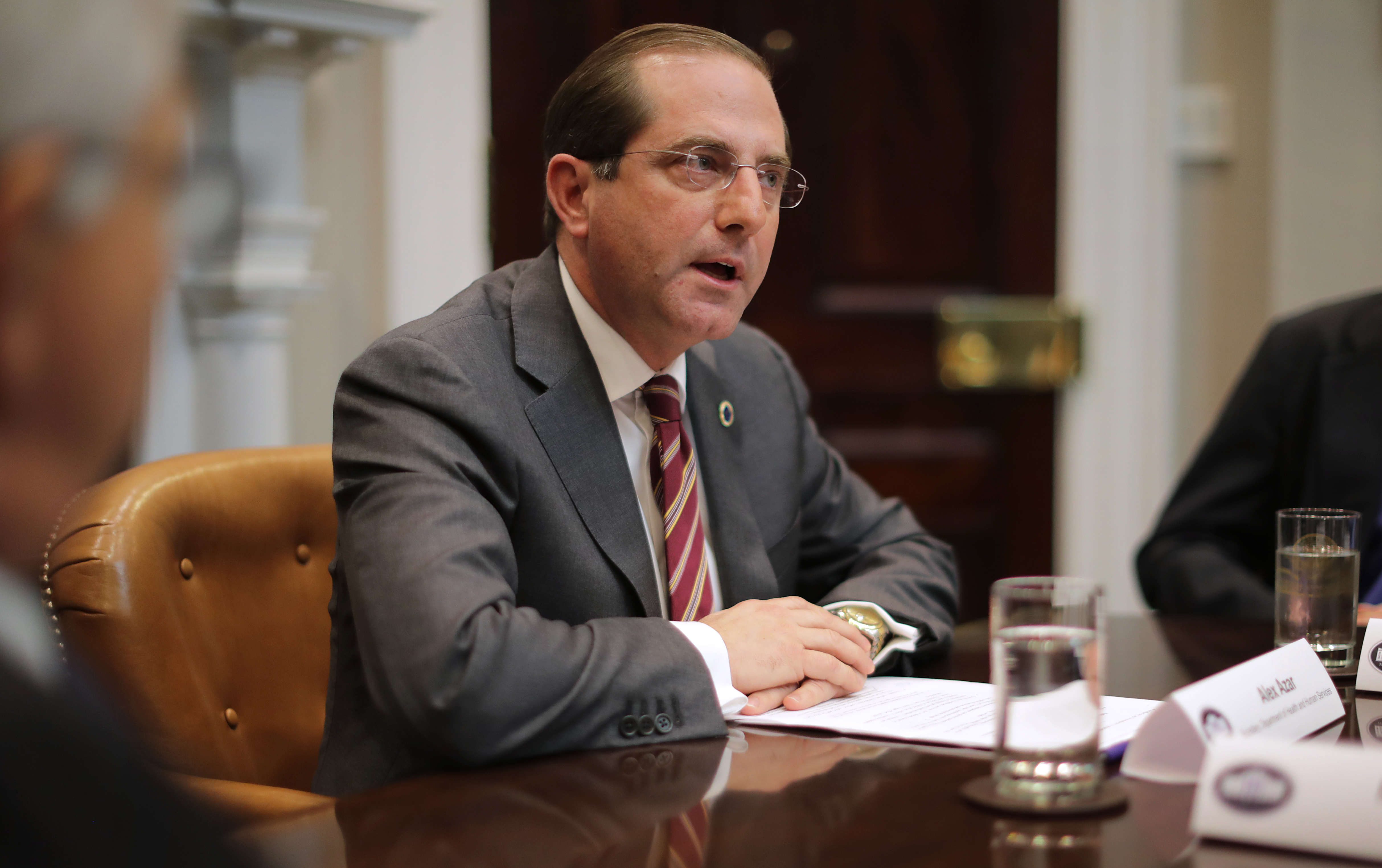 Health and Human Services Secretary Alex Azar delivers remarks to reporters while participating in a roundtable about health care prices at the White House on Jan. 23.