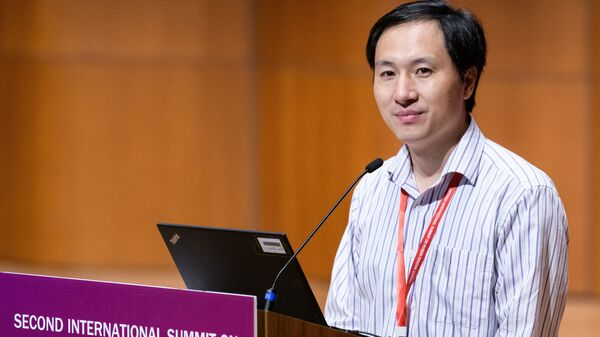 Chinese scientist He Jiankui speaks at a human genome editing summit in Hong Kong on Nov. 28, 2018. He announced an experiment on twins that raised a range of ethical questions and prompted China