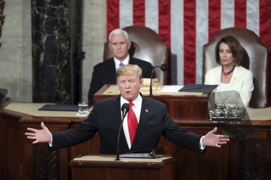 President Trump delivers his State of the Union address Tuesday to a joint session of Congress on Capitol Hill in Washington, as Vice President Pence and Speaker of the House Nancy Pelosi, D-Calif., watch. (Andrew Harnik/AP)