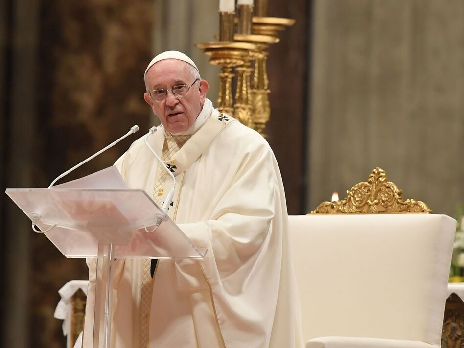 Pope Francis celebrates a holy mass at St. Peter's basilica in the Vatican.