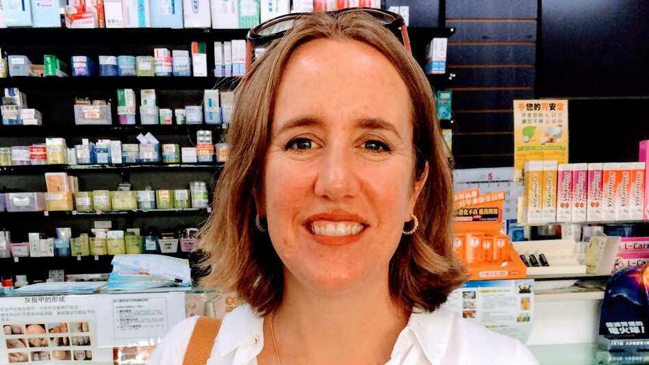 Lija Greenseid, a consultant with a nonprofit in St. Paul, Minn., paid $40 at this Taiwanese pharmacy for a box of insulin pens. It's the same medicine that she has paid $700 for in the United States. Greenseid's daughter, who has Type 1 diabetes, goes through about one of these boxes of insulin each month.