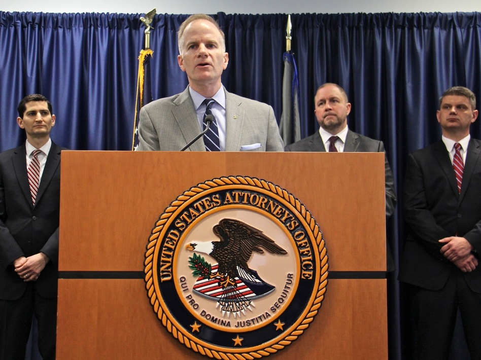"""U.S. Attorney William McSwain and colleagues announced a civil lawsuit Wednesday in Philadelphia against the nonprofit Safehouse. """"We have a responsibility to step in,"""" McSwain says, though he adds, """"We're not bringing a criminal case right now."""" (Emma Lee/WHYY)"""