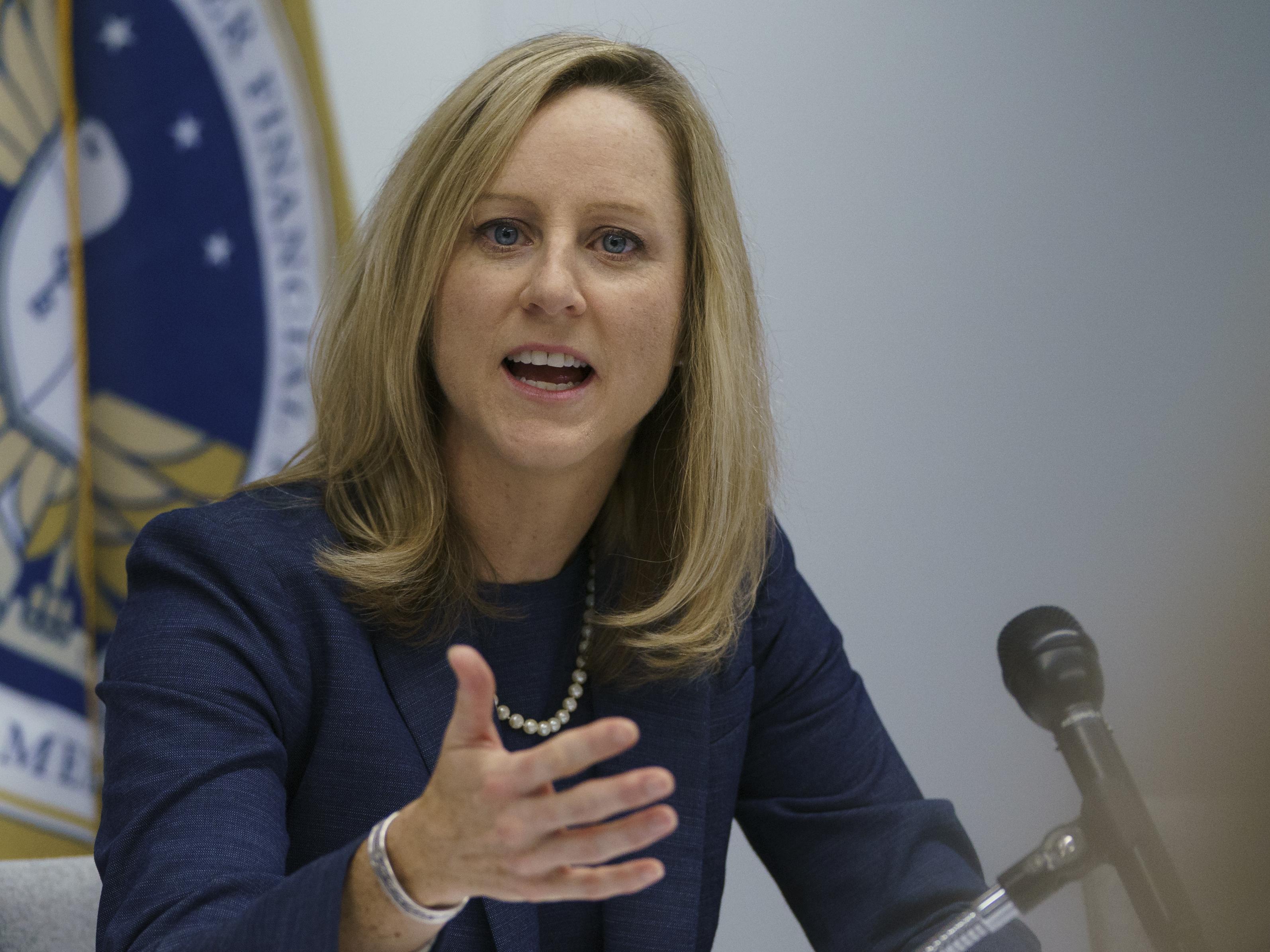 Consumer Financial Protection Bureau Director Kathy Kraninger speaks to media in Washington, D.C., in December 2018.
