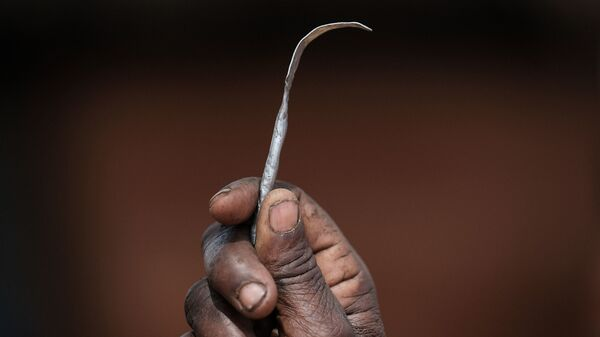 This homemade tool was used for female circumcision in northeast Uganda.