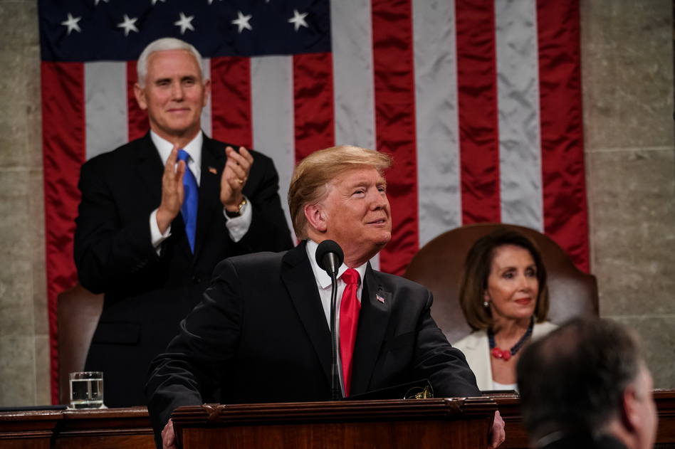 President Trump delivered his second State of the Union address Tuesday with House Speaker Nancy Pelosi, D-Calif., and Vice President Pence behind him. (Doug Mills/Pool/Getty Images)