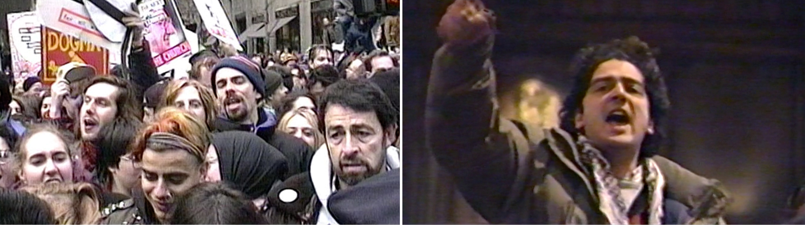 """December 1989: At left, members of ACT UP mount a protest outside St. Patrick's Cathedral in New York. At right, activist Michael Petrelis inside the cathedral shouts """"Stop killing us!"""" in the middle of the service."""