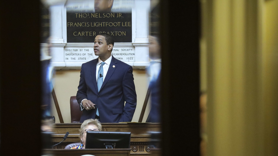 Virginia Lt. Gov. Justin Fairfax presides over the state Senate at the Capitol on Thursday. One day later, a second woman came forward with sexual assault allegations against the politician. (Drew Angerer/Getty Images)