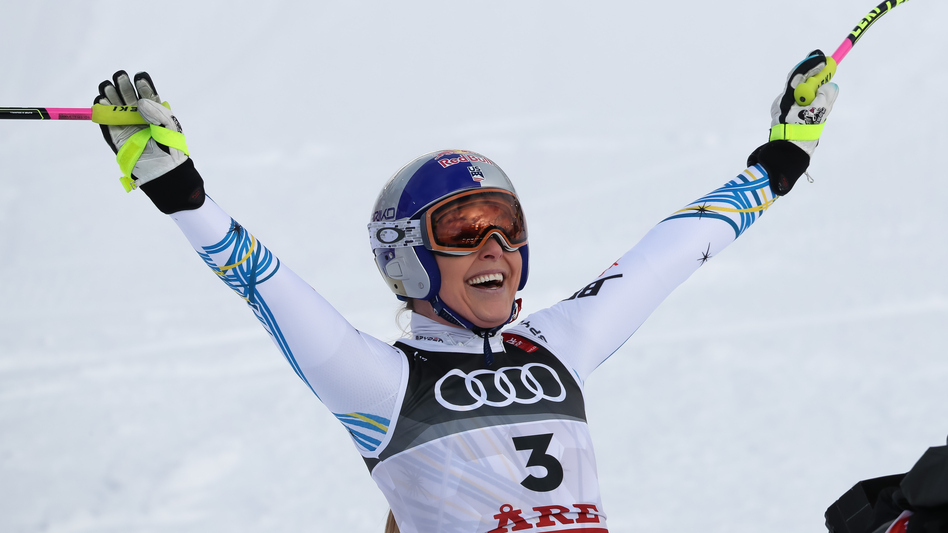 Lindsey Vonn competes during the FIS World Ski Championships Women's Downhill on Sunday in Are, Sweden. (Christophe Pallot/Agence Zoom/Getty Images)