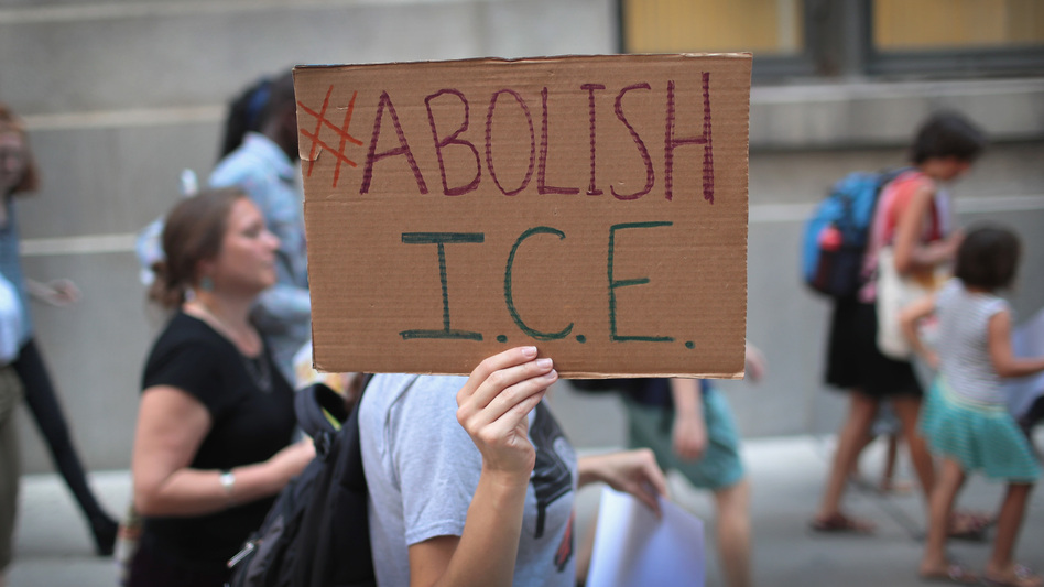 With some Democrats calling to abolish Immigration and Customs Enforcement, congressional negotiators want to cap the number of the agency's detention beds. (Scott Olson/Getty Images)