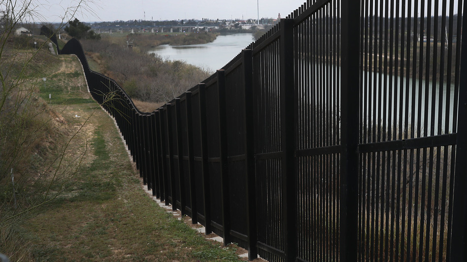 A border fence is seen near the Rio Grande which marks the boundary between Mexico and the United States on February 09, 2019, in Eagle Pass, Texas. (Joe Raedle/Getty Images)