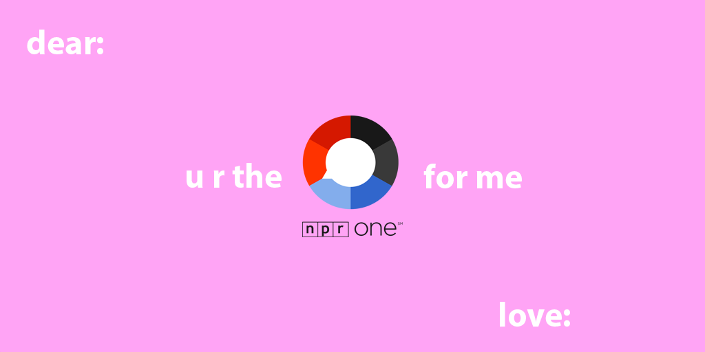 "pink valentine that reads ""dear: u r the nprone for melove: """