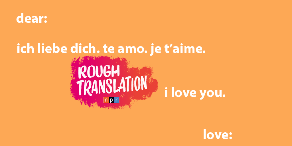 "orange valentine that reads ""ich liebe dich. te amo. je t'aime. rough translation i love you. love: """