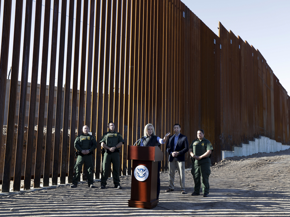 U.S. Department of Homeland Security Secretary Kirstjen Nielsen speaks in front of a newly fortified border wall structure in Calexico, Calif. in October. A federal court ruled Monday that DHS has broad authority to waive environmental regulations in the name of border security. (Gregory Bull/AP)