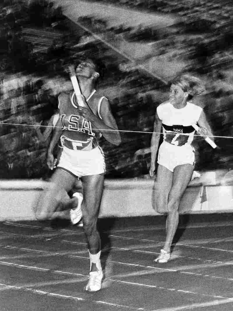 Wilma Rudolph crosses the finish line of the 4 X100m event and wins a total of three gold medals at the Rome 1960 Olympic Games. After retiring, Wilma fought to integrate restaurants in her hometown of Clarksville, Tennessee.