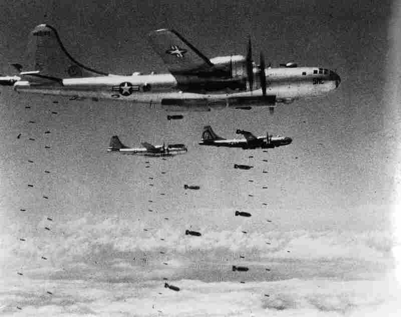 US Air Force B-29 Superfortresses drop bombs on a strategic target during the Korean War. By some estimates, up to twenty percent of the North Korean population were killed by bombs from American aircraft.