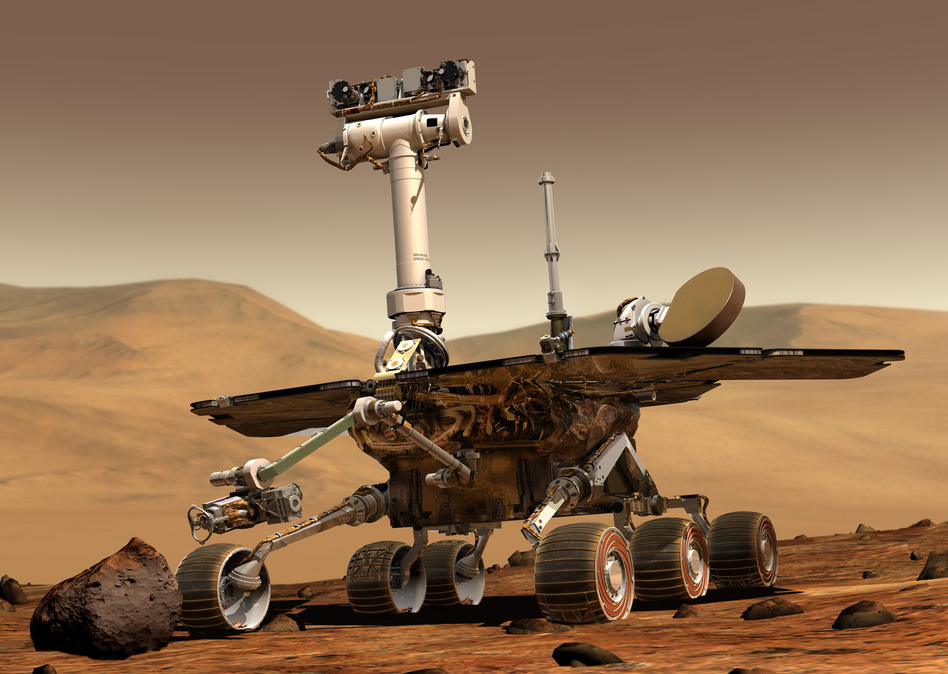An artist's concept shows a NASA Mars exploration rover on the surface of Mars. The twin rovers Spirit and Opportunity were launched in 2003 and arrived at sites on Mars in January 2004.