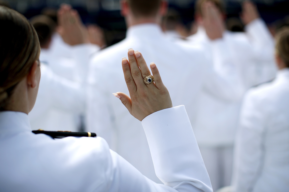 2017 graduation and commissioning ceremony at the U.S. Naval Academy. An anonymous Pentagon survey found that 747 students at the Navy, Army and Air Force academies experienced unwanted sexual contact during the past year, a nearly 50 percent increase from a similar survey taken two years earlier. (Win McNamee/Getty Images)