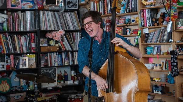 Scott Mulvahill performs a Tiny Desk Concert on Jan. 30, 2019 (Amr Alfiky/NPR).