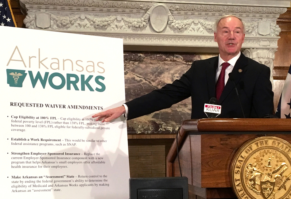 Arkansas Gov. Asa Hutchinson announces changes to the state Medicaid program called Arkansas Works, including the addition of a work requirement for certain beneficiaries, on March 6, 2017. (Michael Hibblen/KUAR)