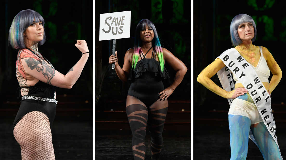 (Left to right) Genevieve Billingsley, Sheila McGlown and Dikla Benzeevi, all models with metastatic breast cancer, walked in a show for Fashion Week on Feb. 10 in in New York, N.Y.