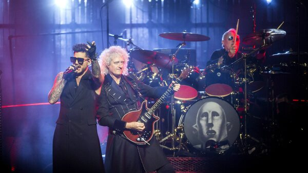 Adam Lambert performs with Queen in Budapest in 2017. The collaboration will take the stage at the Oscars on Sunday, the Academy of Motion Picture Arts and Science announced.