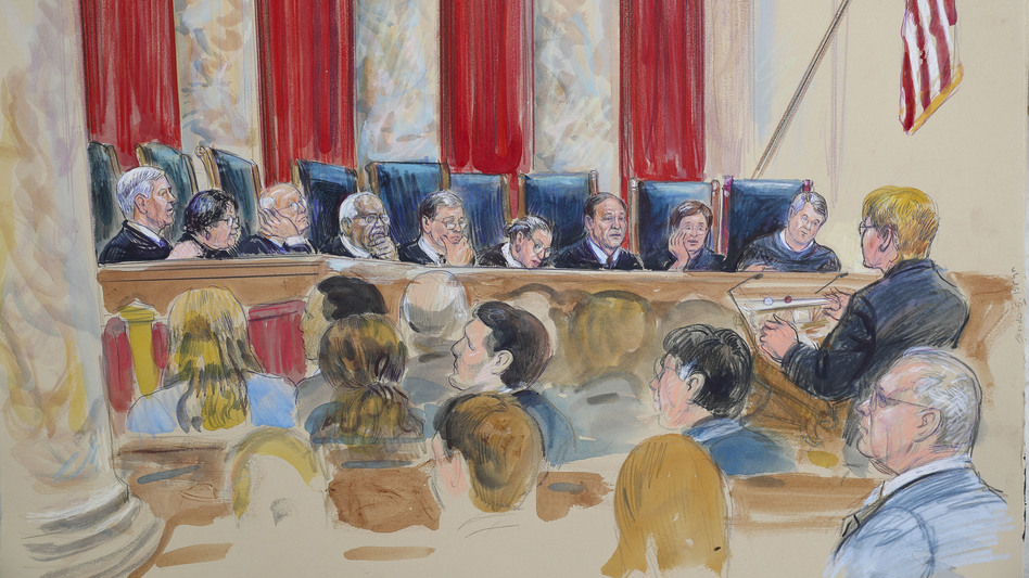 Ginsburg, sketched here with the rest of the Supreme Court last year, worked from home on the cases the court heard in January. On Tuesday, she returned to the bench.