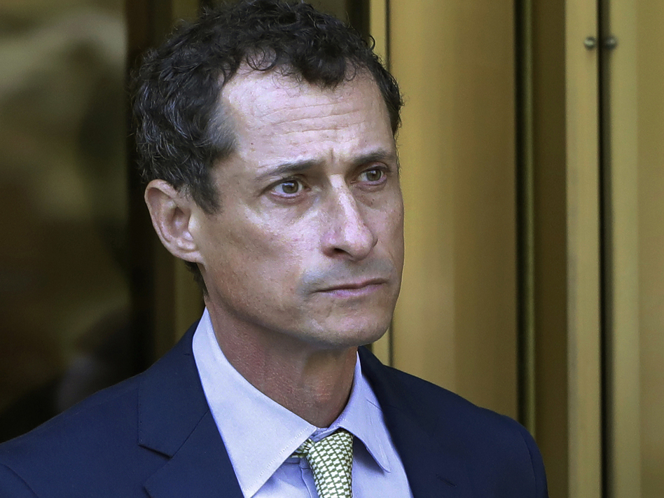 In this 2017 photo, former lawmaker Anthony Weiner leaves federal court following his sentencing in New York. The New York Democrat has been released from federal prison in Massachusetts.
