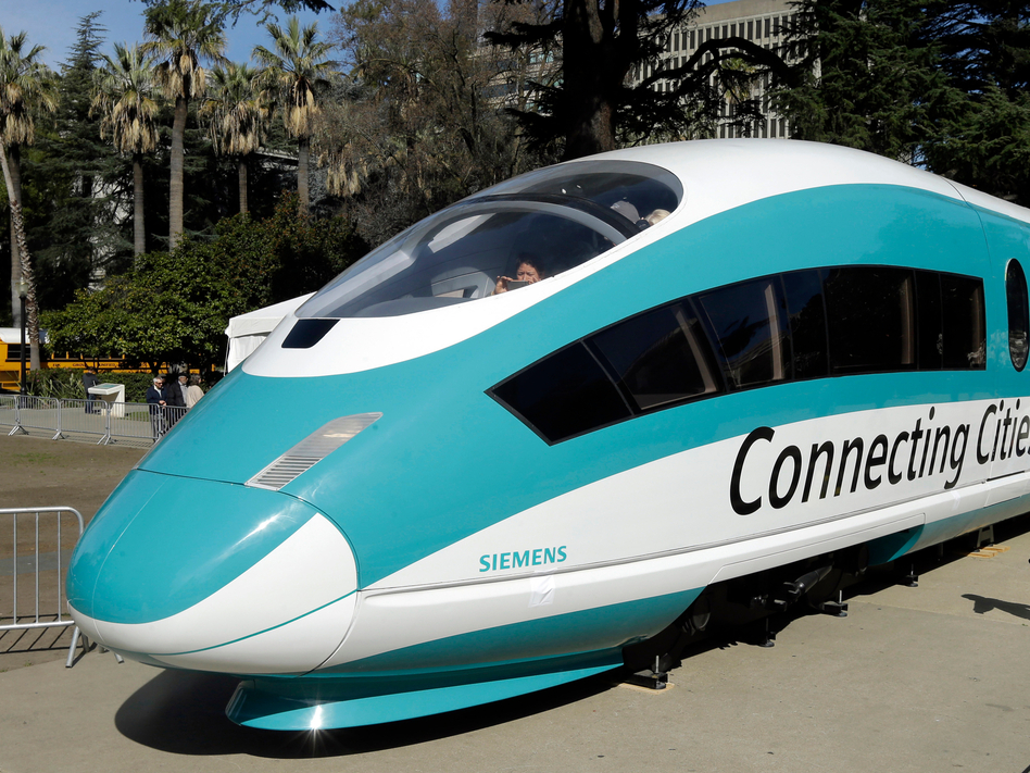 A full-scale mock-up of a high-speed train is on display at the Capitol in Sacramento, Calif., in 2015. The Trump administration is planning to cancel a $929 million federal grant for the project. (Rich Pedroncelli/AP)