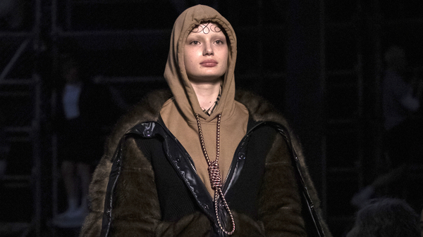 A Burberry model wearing a hoodie with a cord tied like a noose at the Autumn/Winter 2019 fashion week runway show in London. Company leaders have apologized for the garment.