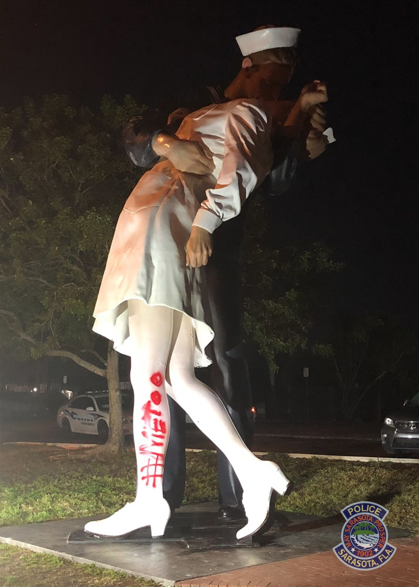 Statue of kissing VJ Day sailor vandalized with MeToo day