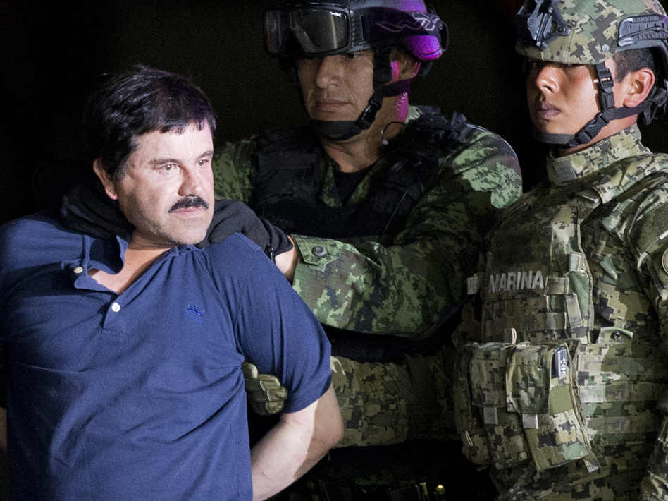 """Joaquín """"El Chapo"""" Guzmán was extradited to the U.S. in 2017 after two successful escapes from Mexican prisons. On Thursday, the Justice Department announced two of his sons have been indicted on a drug conspiracy charge. Both brothers are believed to be fugitives in Mexico. (Eduardo Verdugo/AP)"""