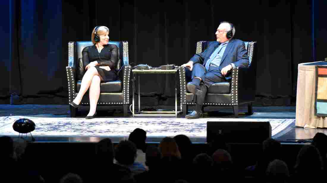 Nina Totenberg and Robert Siegel appear onstage at the 20th birthday celebration for Wait Wait... Don't Tell Me! at the Chicago Theatre, on Oct. 25.