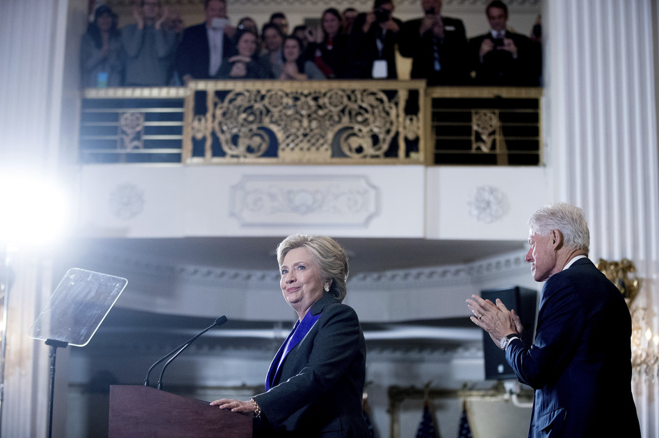 Hillary Clinton concedes after her loss in 2016 presidential election, though Clinton won 3 million more votes nationally than Donald Trump. (Andrew Harnik/AP)