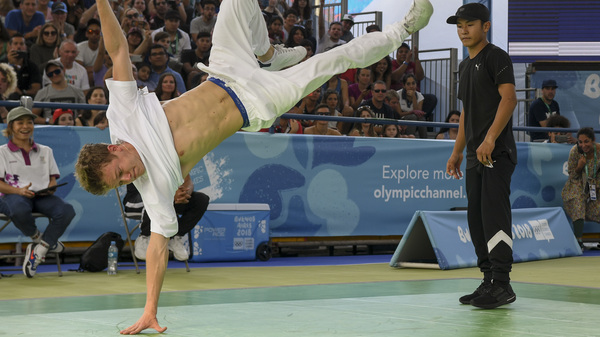 Paris Olympics organizers want breakdancing to be part of the 2024 Olympics; the sport was part of the Youth Olympic Games in Buenos Aires last fall, when Russian b-boy Bumblebee, left, defeated Japan