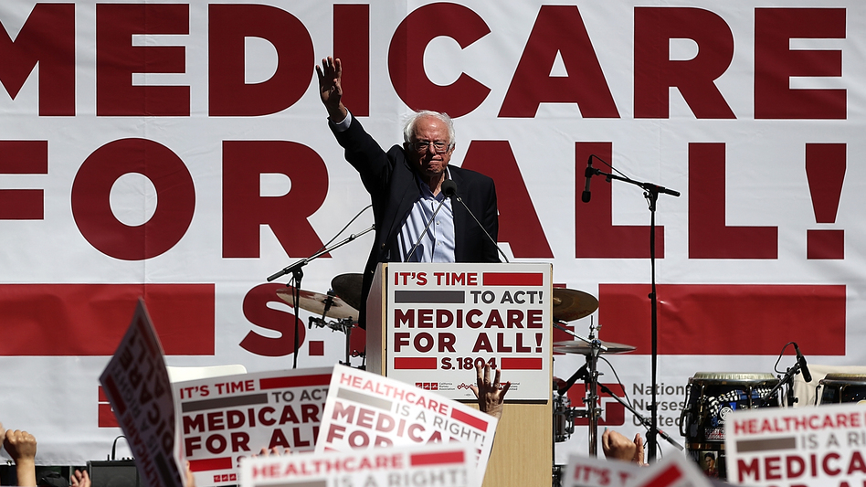 Sen. Bernie Sanders, I-Vt., promotes his Medicare-for-all proposal at the 2017 Convention of the California Nurses Association/National Nurses Organizing Committee in San Francisco, Calif., an issue that is dominating the early debate in the 2020 presidential contest. (Justin Sullivan/Getty Images)