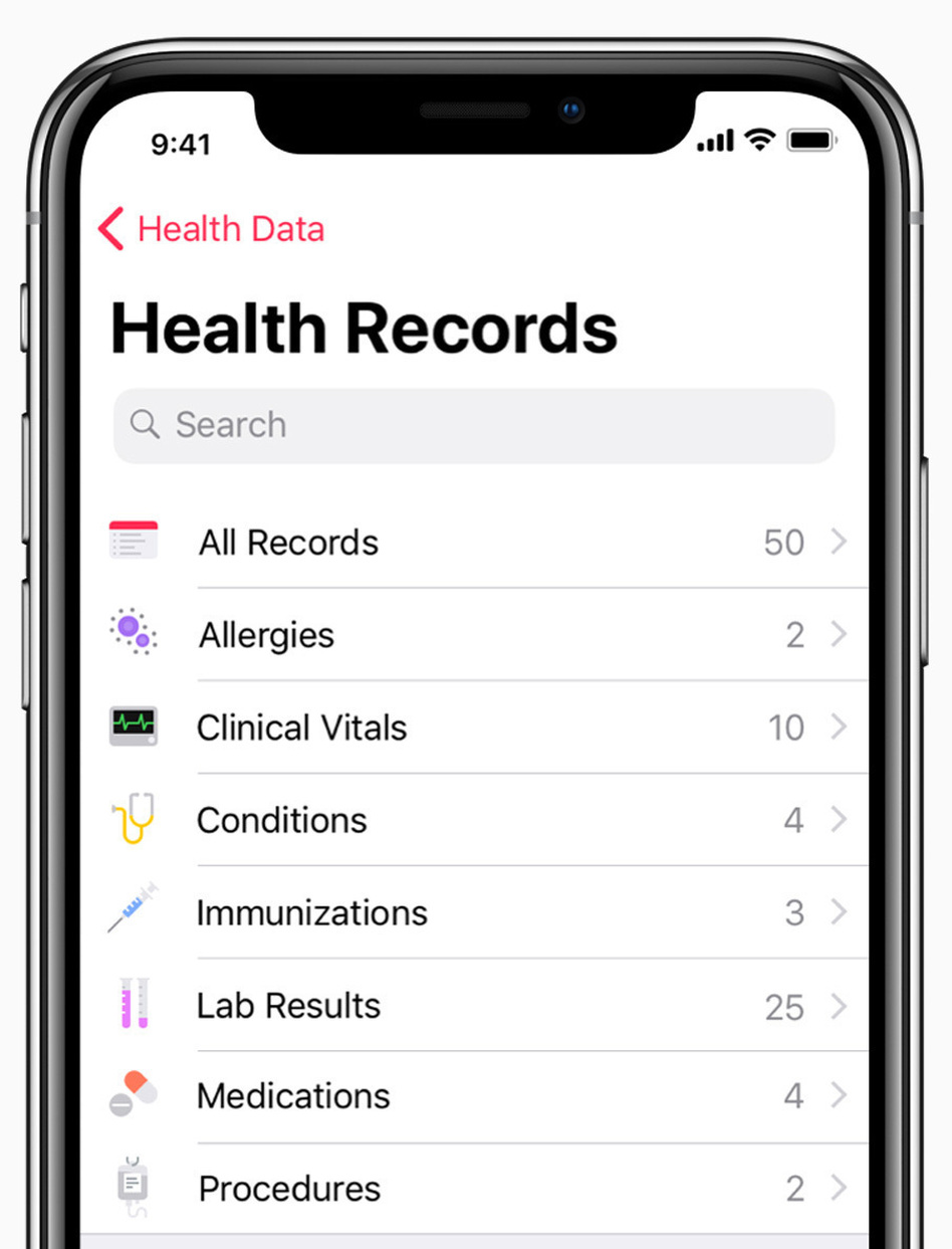 Hundreds of health care providers around the United States allow their patients to use Apple's Health app to store their medical records. (Apple)