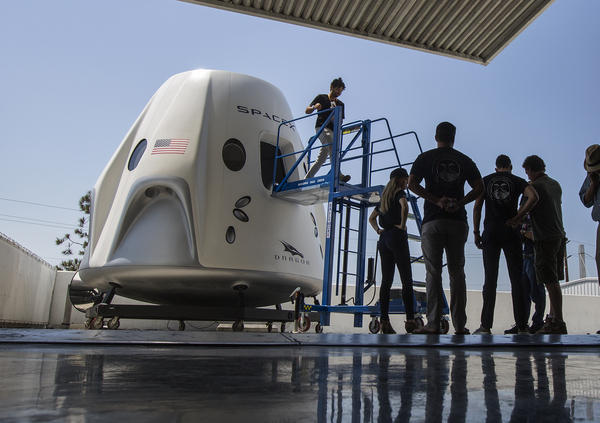 A mockup of the Crew Dragon spacecraft was on display during a 2018 media tour of SpaceX's headquarters and rocket factory in Hawthorne, Calif.