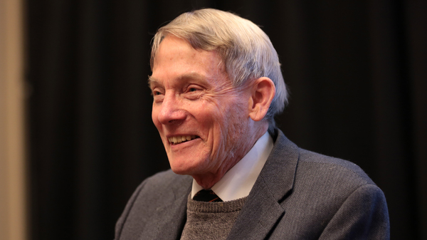 William Happer speaks with attendees at the 2018 Young Americans for Liberty New York City Spring Summit at the Teaneck Marriott at Glenpointe in Teaneck, N.J.