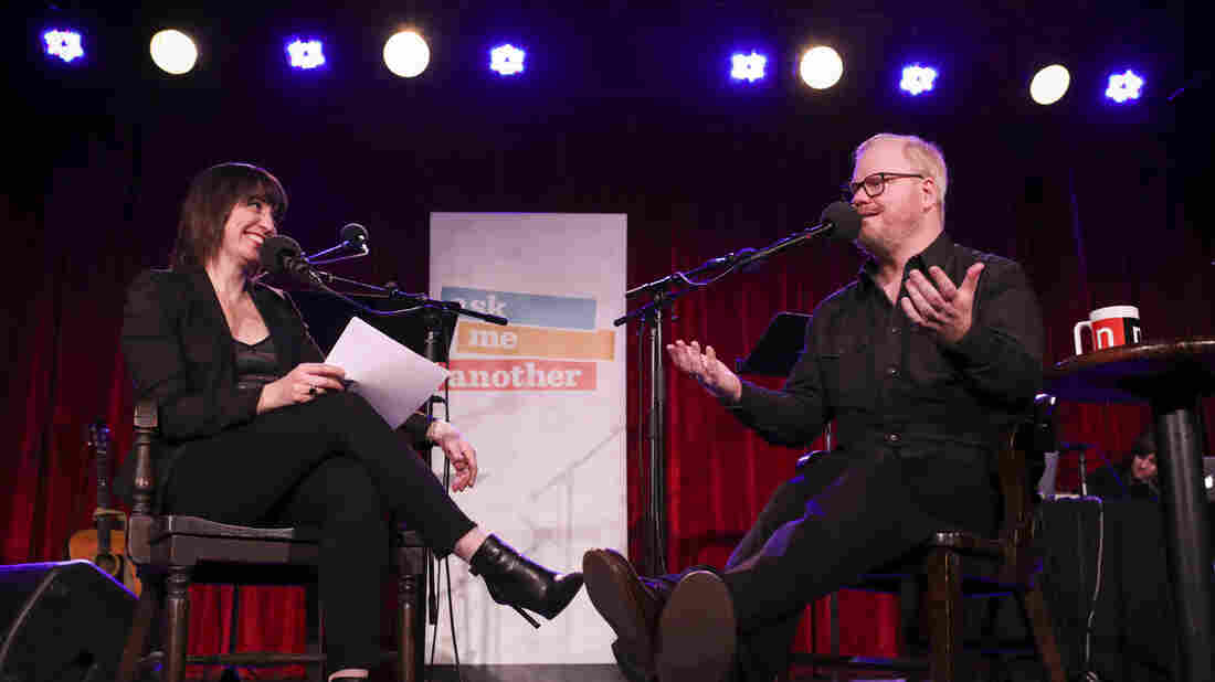 Host Ophira Eisenberg catches up with comedian Jim Gaffigan on Ask Me Another at the Bell House in Brooklyn, New York.