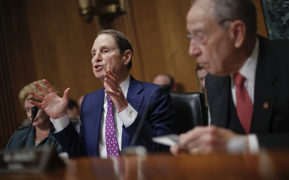 Sen. Ron Wyden, D-Ore., left, and Sen. Chuck Grassley, R-Iowa, right, chairman of the Senate Finance Committee, asked drug company CEOs some tough questions about drug prices on Tuesday during a hearing before the Senate Finance Committee. (Pablo Martinez Monsivais/AP)